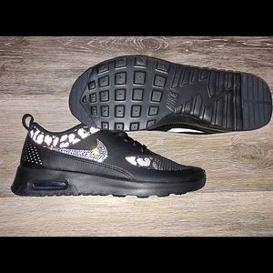 Bling Nike air max Thea shoes Leopard crystal NWT